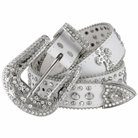 "50121 Women Rhinestone Belt Fashion Western Cowgirl Bling Studded Design Cross Concho Leather Belt 1-1/2""(38mm) wide-White"