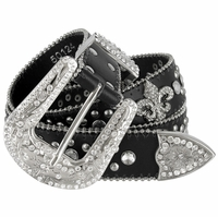 "50124  Women Rhinestone Belt Fashion Western Cowgirl Bling Studded Fleur-de-lis Concho Leather Belt 1-1/2""(38mm) wide-Black"