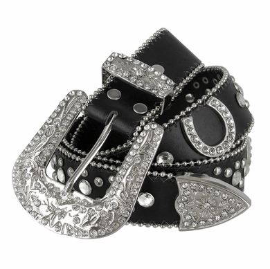 "50125 Rhinestone Belt Fashion Western Cowgirl Bling Studded Design Horseshoe Concho Leather Belt 1-1/2""(38mm) wide-Black"