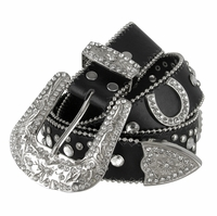 "50125 Women Rhinestone Belt Fashion Western Cowgirl Bling Studded Design Horseshoe Concho Leather Belt 1-1/2""(38mm) wide-Black"