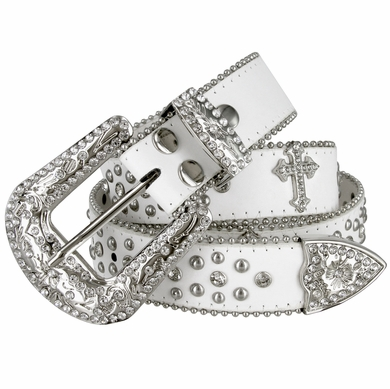"50127 Women Rhinestone Belt Fashion Western Cowgirl Bling Studded Design Cross Concho Leather Belt 1-1/2""(38mm) wide-White"