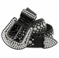 "50158 Women Rhinestone Belt Fashion Western Cowgirl Bling Studded Design Leather Belt 1-1/2""(38mm) wide-Black"