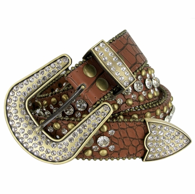 "50158 Women Rhinestone Belt Fashion Western Cowgirl Bling Studded Design Leather Belt 1-1/2""(38mm) wide-Brown"