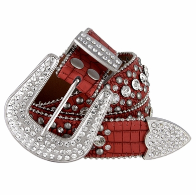 "50158 Women Rhinestone Belt Fashion Western Cowgirl Bling Studded Design Leather Belt 1-1/2""(38mm) wide-Red"