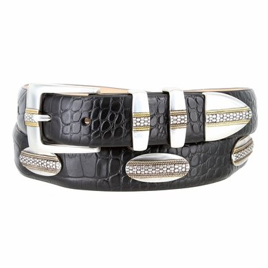 "5825 Andrew Silver with Gold Buckle Alligator Black Genuine Leather Belt 1-1/8"" Wide"