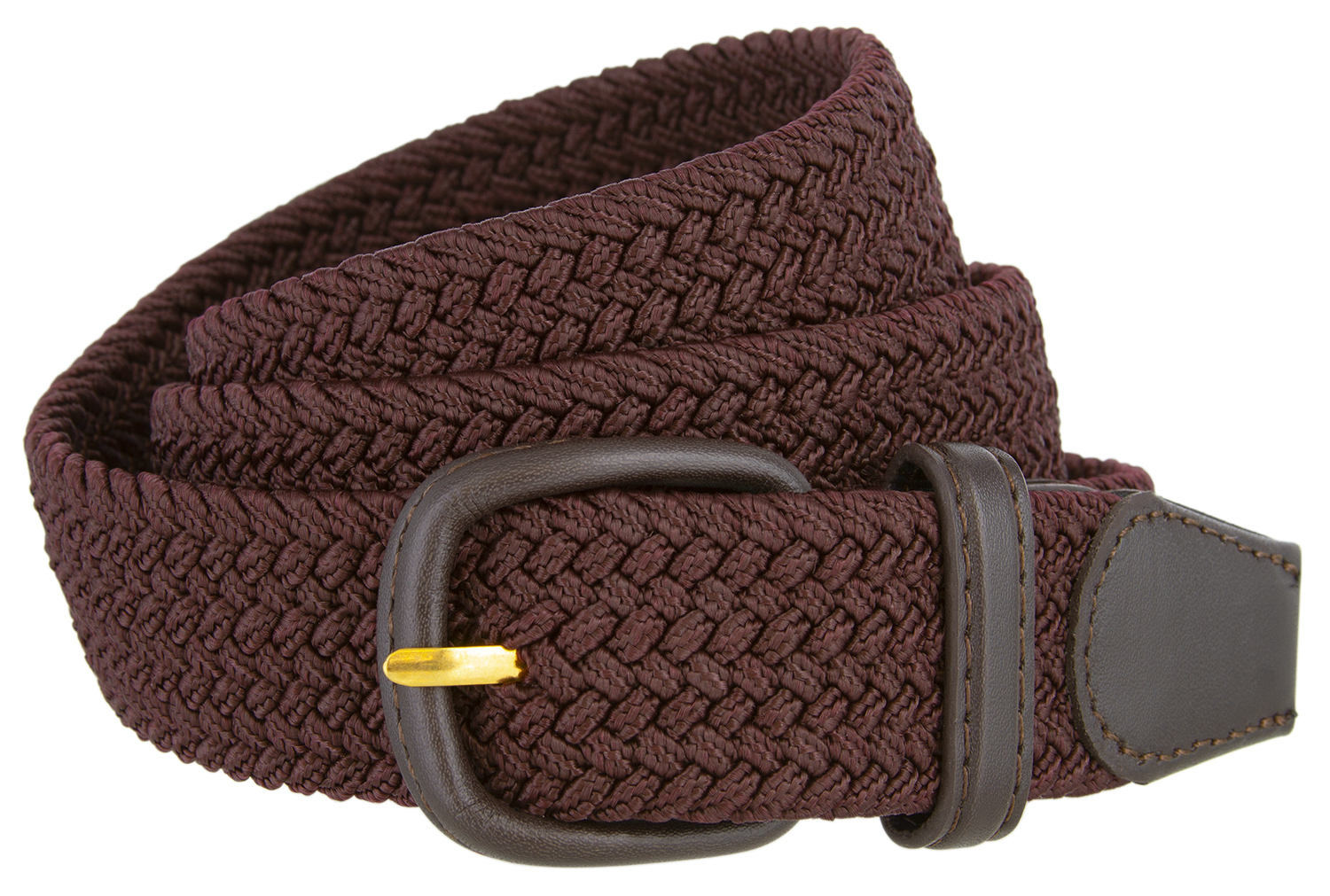 "7001 Men/'s Leather Covered Buckle Woven Elastic Stretch Belt 1-1//4/"" Wide"