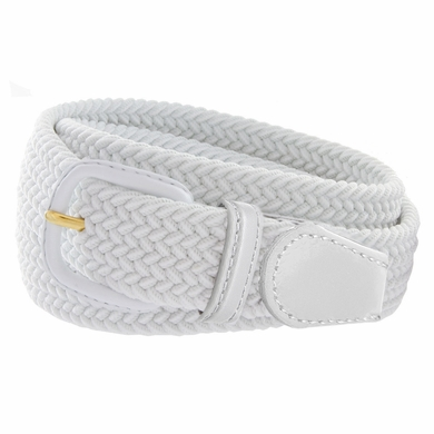 """7001 Leather Covered Buckle Woven Elastic Stretch Belt 1-1/4"""" Wide - White"""