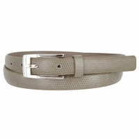 7045 Women's Skinny Lizard Skin Embossed Leather Casual Dress Belt with Buckle - Light Gray