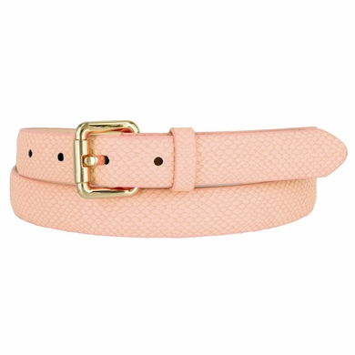 7085 Women's Skinny Matte Snakeskin Embossed Leather Casual Dress Belt - Pink