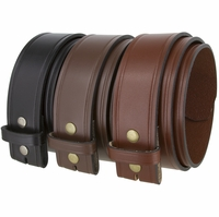 """Alabama Two Lines Smooth One Piece Full Grain Cowhide Leather Belt Strap 1 3/4"""" Wide"""