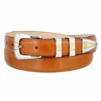 Alessio Men's Smooth Saddle Tan Leather Dress Belt with Gold and Silver Buckle Set