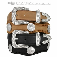 American Indian Coin Conchos Western Cowboy Belt Hand Laced Scalloped Leather Belt