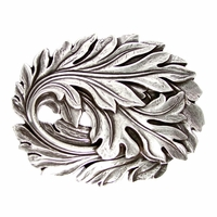 "Antique Silver Engraved Leaf Belt Buckle fits 1-1/2"" (38mm) wide Belt"