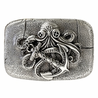 "Antique Silver Octopus Boat Anchor Engraved Belt Buckle fits 1-1/2"" wide Belt"