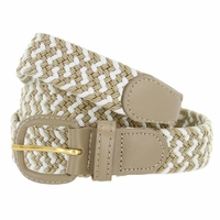 "Beige/White Leather Covered Buckle Woven Elastic Stretch Belt 1-1/4"" Wide"