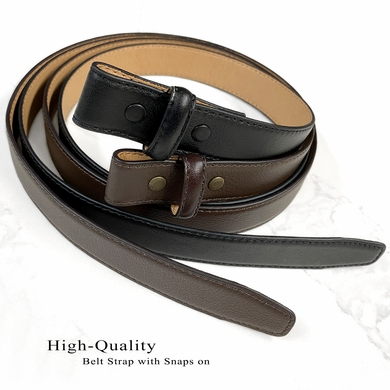 """Belt Strap For Pressure Buckle """"No Holes"""" Replacement Genuine Leather Dress Belt Strap 1""""(25mm) Wide"""