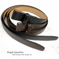 "Belt Strap For Pressure Buckle ""No Holes"" Replacement Genuine Leather Dress Belt Strap 1""(25mm) Wide"