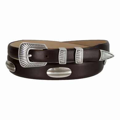 Bisby Italian Leather Concho Belt - Brown