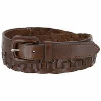 """Braidy Casual One Piece Full Leather Hand Lacing Braided Belt 1"""" Wide"""