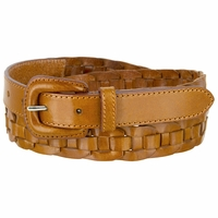 "Braidy Casual One Piece Full Leather Hand Lacing Braided Belt 1"" Wide Women's Leather Belts"