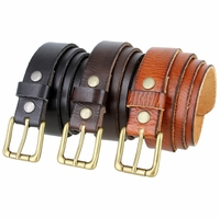 "Brass Roller Buckle Men's Full Grain Leather Dress Belt 1-1/8"" wide"