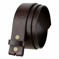 "BS036 Western Floral Engraved Tooling Full Grain Leather Belt Strap 1-1/2"" - Brown"