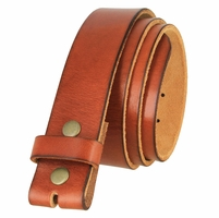 "BS040 Genuine Vintage Full Grain Leather Belt Strap 1 1/2"" Wide - Tan"