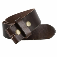"BS040 Vintage Full Grain Leather Belt Strap 1 1/2"" Wide - Dark Brown"