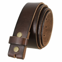"BS040 Vintage Full Grain Leather Belt Strap 1 1/2"" Wide - Brown"