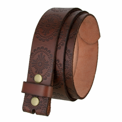 "BS070 Full Grain Leather Belt Strap 1 1/2"" Wide - Brown"