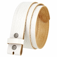 "BS085 Full Grain Leather Tooled Leather Belt Strap 1-1/2"" wide - White"