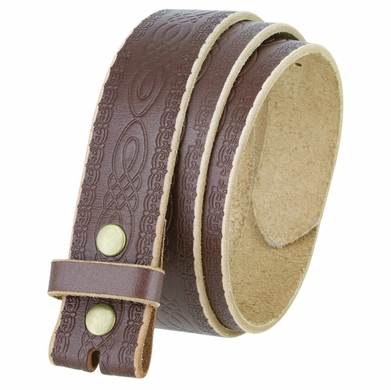 "BS085 Full Grain Tooled Leather Belt Strap 1-1/2"" wide - Brown"