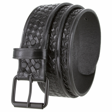 "CL871 Black Roller Buckle Casual One Pice Full Grain Leather Belt 1 1/2"" Wide"
