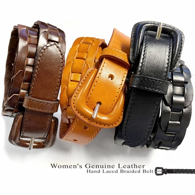 "BS251813 Beltscom Women's Belts Dress Belt Genuine Leather Hand Laced Braided Belt 1"" Wide"