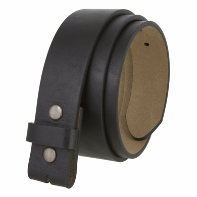 "BS382011 Casual Leather Belt Strap with Metal Snaps 1-1/2"" wide - Black"