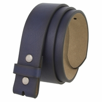"BS382011 Casual Leather Belt Strap with Metal Snaps 1-1/2"" wide - Navy"