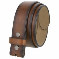 "BS382011 Casual Leather Belt Strap with Metal Snaps 1-1/2"" wide - Tan"