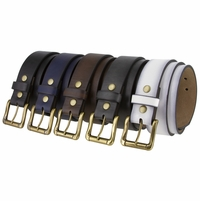 "BS382011 Casual Brass Roller Buckle And Leather Belt Multiple Colors 1 1/2"" Wide"
