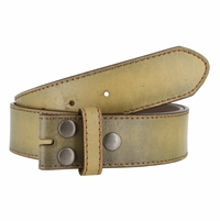 "BS57 Distressed Genuine Leather Belt Strap 1-1/2"" Wide - Tan"