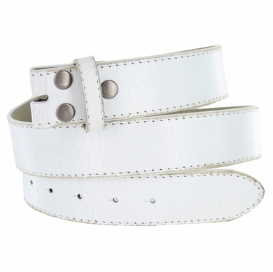 "BS57 Distressed Genuine Leather Belt Strap 1-1/2"" Wide - White"