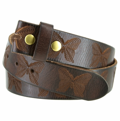 "Butterfly Tooled Full Grain Leather Belt Strap 1-1/2"" Wide"