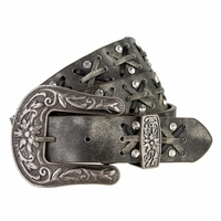 """Cross-laced Genuine Leather Belt with Rhinestones 1 1/8"""" Wide"""