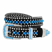 "DM1006 Women Rhinestone Belt Fashion Western Cowgirl Bling Studded Design Suede Leather Belt 1-1/4""(32mm) wide-Blue"