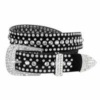 "DM1006 Women Rhinestone Belt Fashion Western Cowgirl Bling Studded Design Suede Leather Belt 1-1/4""(32mm) wide-Crystal"