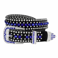 "DM1006 Women Rhinestone Belt Fashion Western Cowgirl Bling Studded Design Suede Leather Belt 1-1/4""(32mm) wide-Dark Blue"