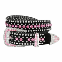 "DM1006 Women Rhinestone Belt Fashion Western Cowgirl Bling Studded Design Suede Leather Belt 1-1/4""(32mm) wide-Pink"