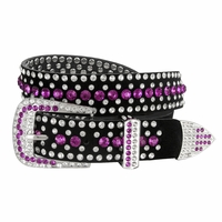 "DM1006 Women Rhinestone Belt Fashion Western Cowgirl Bling Studded Design Suede Leather Belt 1-1/4""(32mm) wide-Purple"