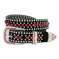 "DM1006 Women Rhinestone Belt Fashion Western Cowgirl Bling Studded Design Suede Leather Belt 1-1/4""(32mm) wide-Red"