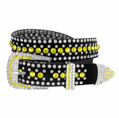 "DM1006 Women Rhinestone Belt Fashion Western Cowgirl Bling Studded Design Suede Leather Belt 1-1/4""(32mm) wide-Yellow"