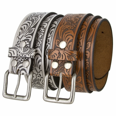 "Floral Western Embossed Leather Belt Strap w/ Snaps 1 1/2"" Wide"